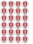24 x Rotherham Football Edible Rice Wafer Paper Cupcake Top Toppers